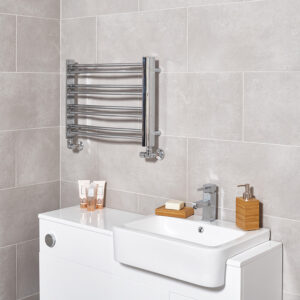 Modern compact space saving bathroom towel rail