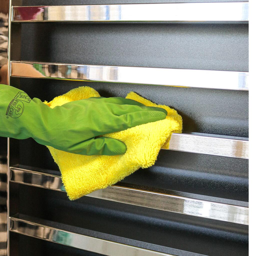 polished-bathroom-towel-rail-cleaning-cloth-1